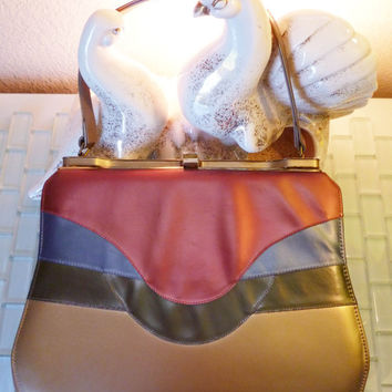 Vintage Mid Century MOD Purse Handbag Edgy Metallic Pink Blue Green Forest Gold Leather Mauve Rose Metal Art Deco Hardware
