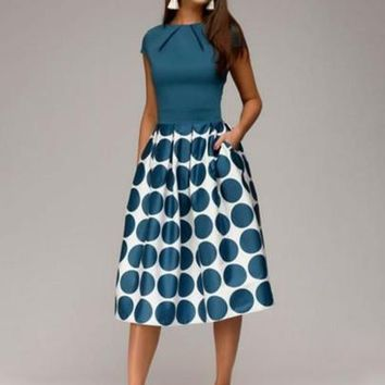 Cap Sleeve Polka Dots Women's Day Dress