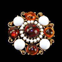 Large Dome Amber and White Cabochons Brooch Chunky in Gold Tone Scroll Work