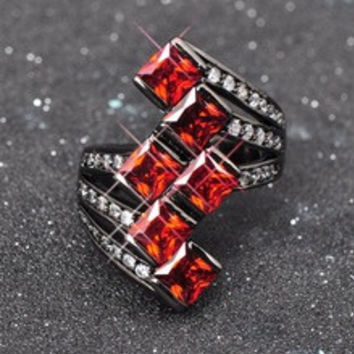 Elegant Brand Ruby Jewelry Party Wedding Accessories CZ Diamond Finger Rings 10KT Black Gold Filled Rings
