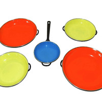 Retro Modern Enamelware Cook and Serving Set Rainbow Color 1960s