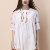 Boho Glee Embroidered Top in White