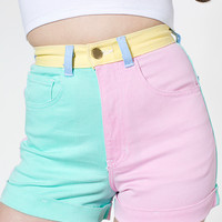 Color Block Stretch Bull DenimHigh-Waist Cuff Short