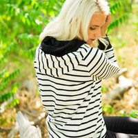 Double Hooded Stripe Sweatshirt