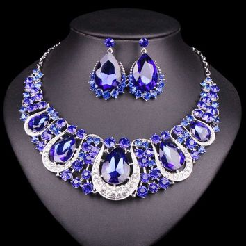 Indian Jewellery Crystal Necklace & Earrings Set