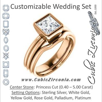 CZ Wedding Set, featuring The Stacie engagement ring (Customizable Bezel-set Princess Cut Solitaire with Grooved Band)