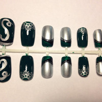 Sillver Green Snake Inspired Lace Design Press On False Nails Fake Nials