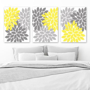 Yellow Gray Flower Wall Art, CANVAS or Prints, Yellow Gray Bedroom Wall Decor, Yellow Bathroom Decor, Yellow Gray Nursery Decor Set of 3