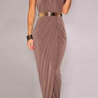 Coffee Colored Halter Maxi Dress with Belt