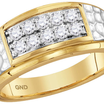 10kt Yellow Gold Mens Round Diamond Cluster 2-tone Hammered Band Wedding Anniversary Ring 1/2 Ctw 114123