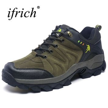 2019 New Man Travel Shoe Leather Mountain Sneaker Hiking Boots Mens Autumn Winter Outdoor Footwear Lace Up Hard-Wearing Sneakers