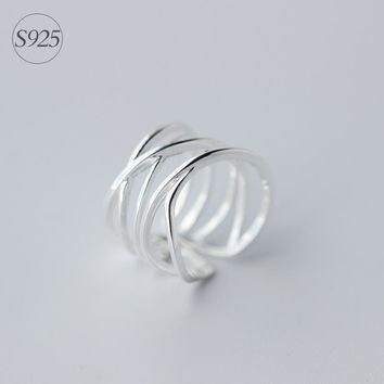 Real. 925 Sterling Silver Jewelry Multi-Rows/layers Cross Criss Twisted LONG Ring Wrap Ring Adjustable drop shipping GTLJ978
