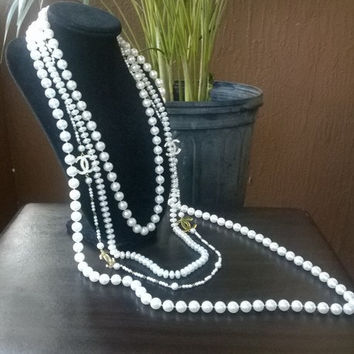 Designer Inspired Vintage Style Old Hollywood Glam Pearl Necklace