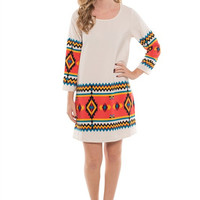Coral Multi-Color 3/4 Sleeve Tribal Print Dress *MADE IN USA!*