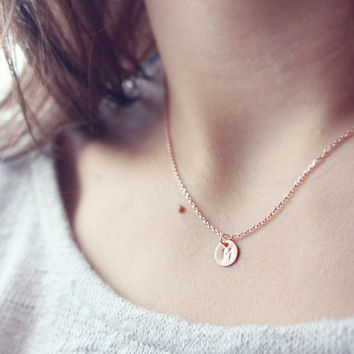 initial - PERSONALIZED JEWELRY, custom rose gold or gold stamped letter necklace / minimalist, dainty, custom gift for her