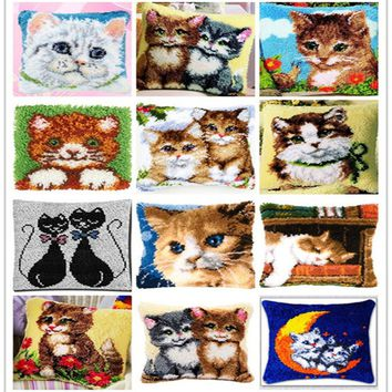 Latch Hook Kit  Pillow Mat   Cat 42CM by 42CM Cross Stitch