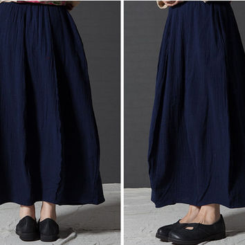 Maxi skirt, plus size skirt, high waist skirt, women long skirts, pleated skirt, navy blue skirt, long cotton maxi skirts (ESR85)