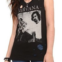 Nirvana Photo Destroyed Sleeveless Girls T-Shirt - 146868