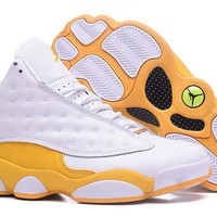 Air Jordan 13 Retro White Yellow Sneakers Men Top Quality JD 13 Basketball Shoes For S