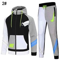 Nike Trending Women Men Long Sleeve Shirt Sweater Pants Sweatpants Set Two-Piece Sportswear 2#