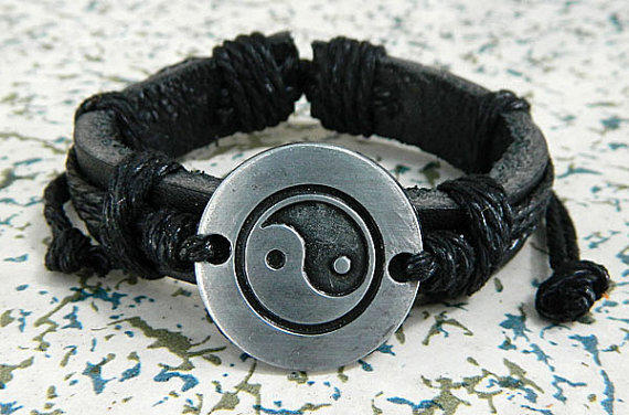 metal  Adjustable bracelet antique silver bracelet Cowhide Leather hipster jewelry leather bracelet wooden  bead and hollowed tube