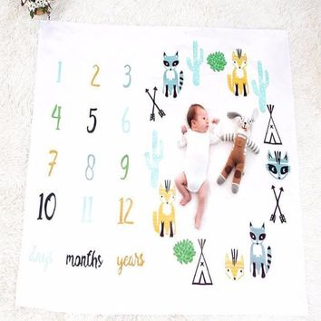 Baby Monthly Milestone First Year Baby Milestone Backdrop Blanket  Photo Prop - CC408