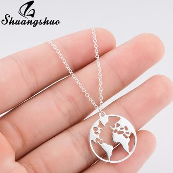 World Map Necklace Women Geometric Necklace Round Necklace Circle Necklaces, Pendants Choker Jewelry
