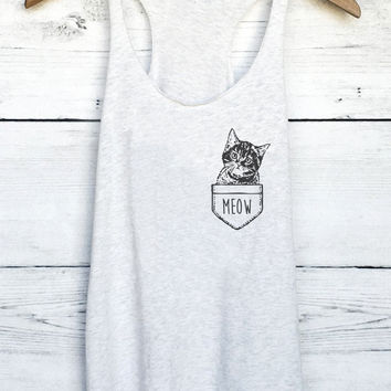 Cat in Pocket Tank Top