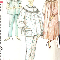 1960s Misses Pajamas and Nightgown Vintage Sewing Pattern Simplicity 3239 bust 38""