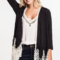 Knit Cardigan With Lace Trim Detail - Black