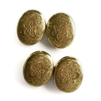 Victorian Cufflinks / Etched Gold Tone Cuff Links / Chain Link Double Back / 1910s Vintage Cufflinks / Etched Metal Cuff Links