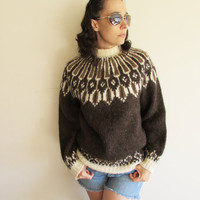Vintage Brown and Cream Icelandic Wool Knit Sweater