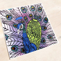 Peacock Art Print - 8 x 8 Zentangle Archival Limited Edition