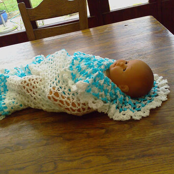 CROCHET BLANKET New handmade white shawl with turquoise and white deep lace  frill    (nannycheryl original)  ID 779