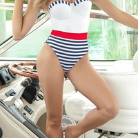 Mapale Strapless Style Nautical Print Lace Up Back One Piece Monokini Swimwear Swimsuit