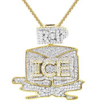 Men's IcedOut Ice Trap 14k Gold Finish Custom Pendant Chain