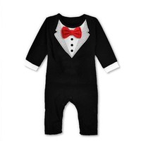 Baby Boy Rompers Wedding Tuxedo Suit Bowtie Bodysuit Jumpsuit Outfit Plaid Clothes Cotton Bodysuit