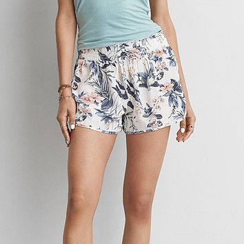 Feitong Women's Casual Floral Printed High Waist Drawstring Shorts