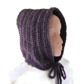 Chunky Crochet Hood in Heather. Hat, Accessories, Hoodie, Pixie Hood, Fashion Accessories, Winter warmers.Gift,