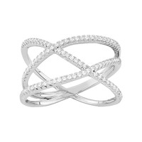 Cubic Zirconia Sterling Silver Free-Form Crisscross Ring (White)