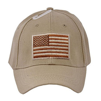 US Army American Flag Embroidered Operator Military Baseball Hat Cap (Tan)
