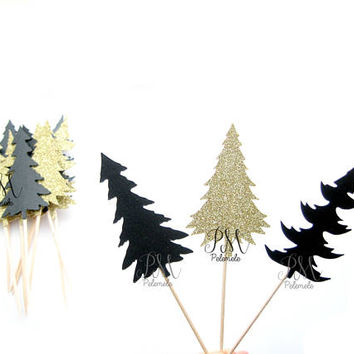 12 Glitter & Shimmer Pine Tree Cupcake Toppers - wild birthday, forest birthday, wild party cake topper, wild one party, forest party