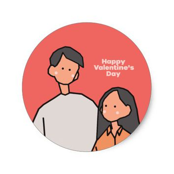 Love (Happy Valentine's Day) Classic Round Sticker