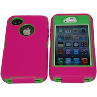 Iphone 4 4s Ultimate Defender Case Hot Pink on Green Comparable to Otterbox for Apple Iphone Ipad