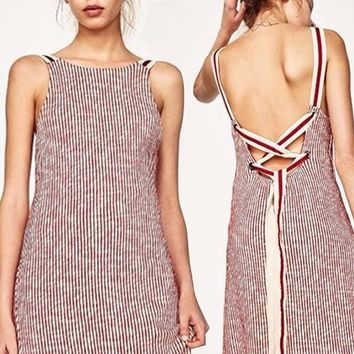 Fashion Sleeveless Backless Multicolor Stripe Strappy Strap Dress