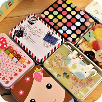 DCCKL72 Mini Cute Kawaii  Cartoon Tin Metal Box Case Home Storage Organizer For Jewelry Kids Toy Gift Home Supplies Free shipping 205
