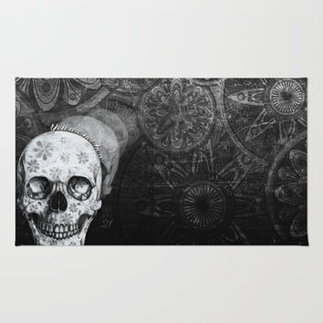 Not here floral skull Area & Throw Rug by Kristy Patterson Design
