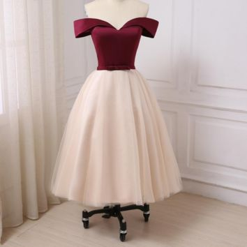 New Evening Dress Off the Shoulder Tea-Length A-line Formal Party Gowns Contrast Color Prom Dresses