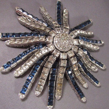 Vintage Rhinestone Star Burst Fur Clip Brooch Channel Set Clear Blue Art Deco