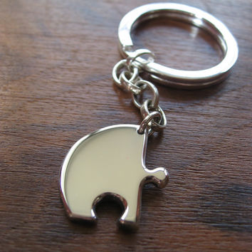 Silver Puzzle Piece Keychain Keyring